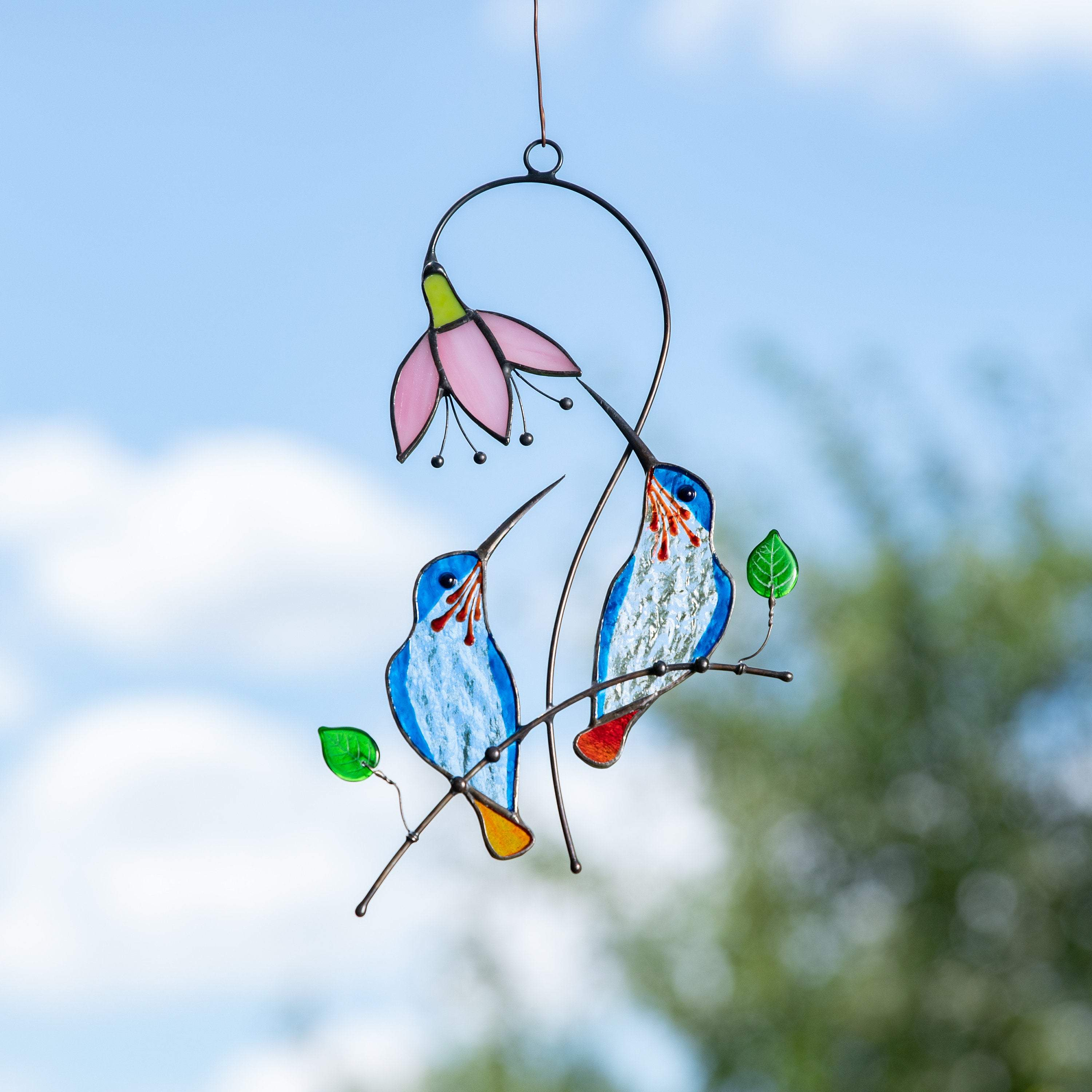 Stained glass hummingbird suncatcher Bird stained glass window hangings Mothers day gift