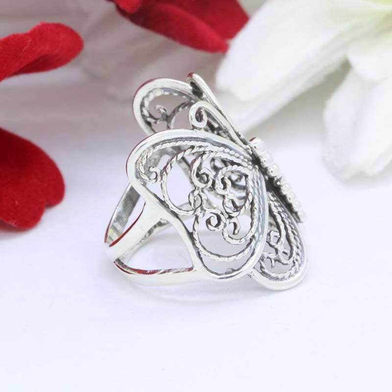 Vintage Carved Butterfly Ring