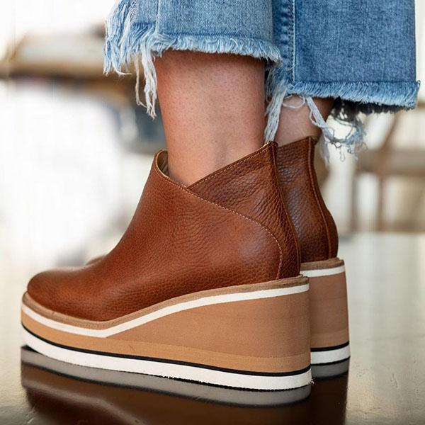 Angelovu Women Solid Color Wedge Ankle Boots