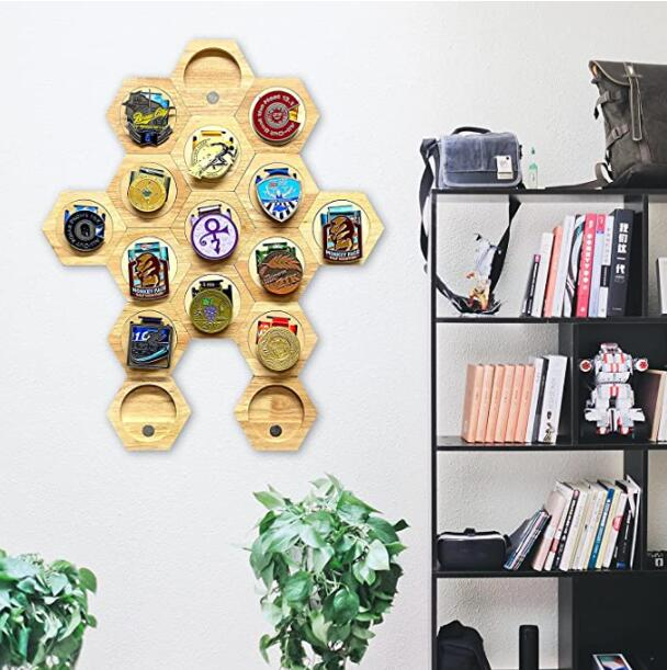 Island Tree House Medal Holder; Sports Medals, Track & Field, Military, Spartan, Races, Running, Marathons - Wooden Hexagon Honeycomb Medal Hanger Display case