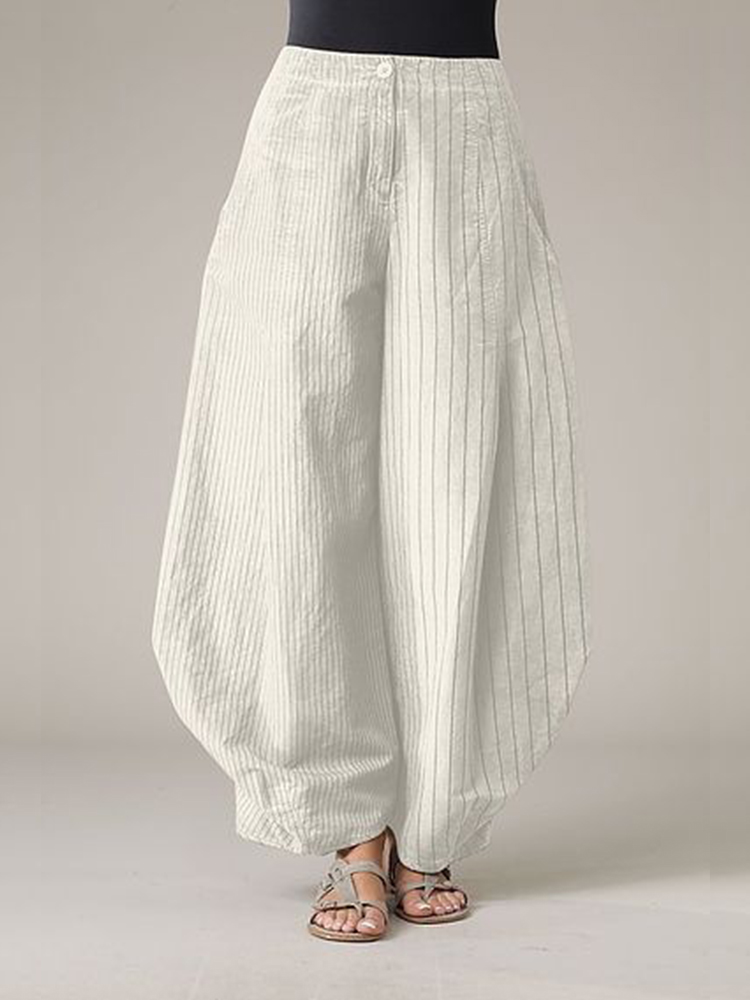 Loose Striped Solid Color Bloomers