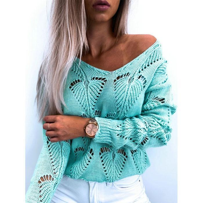 Women Fashion V-neck Hollow Simple Casual Long Sleeve Tunic Sweater