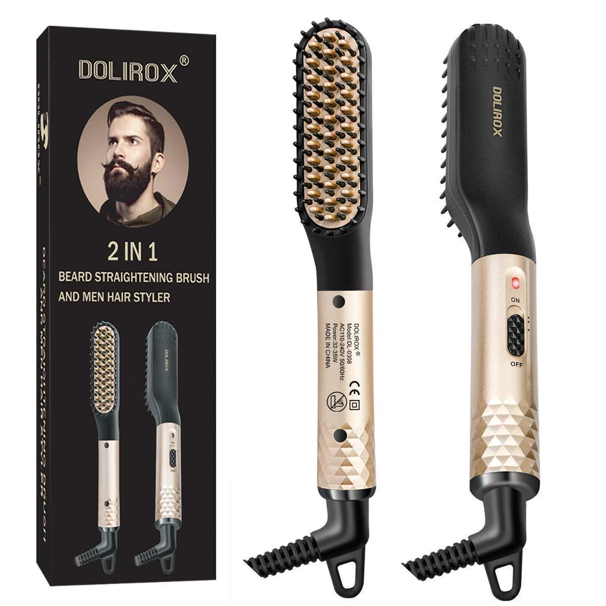 Men's beard straightener, multi-functional hair styler electric hot comb and beard straightener comb, universal voltage, very suitable for travel