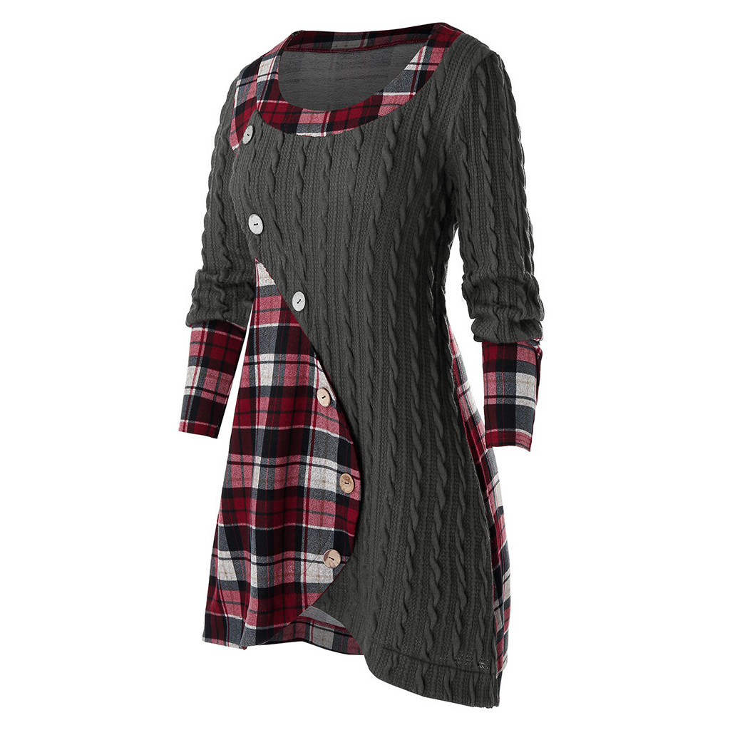 New plaid contrast color knitted sweater stitching long-sleeved top