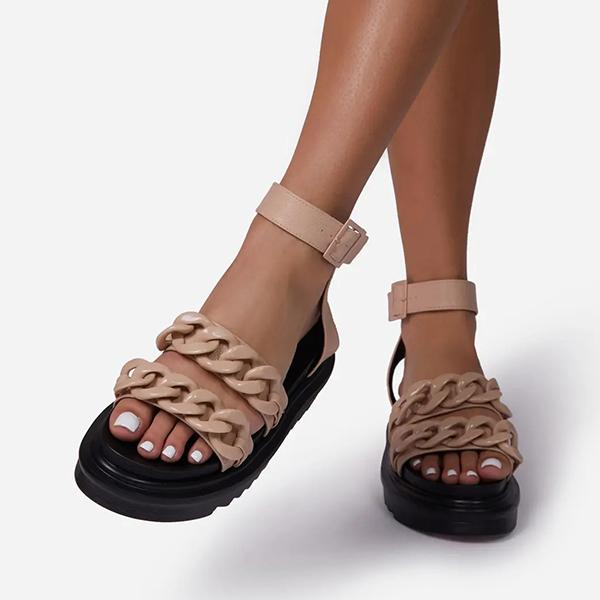Lalarosa Chain Chunky Sole Flat Faux Leather Sandals