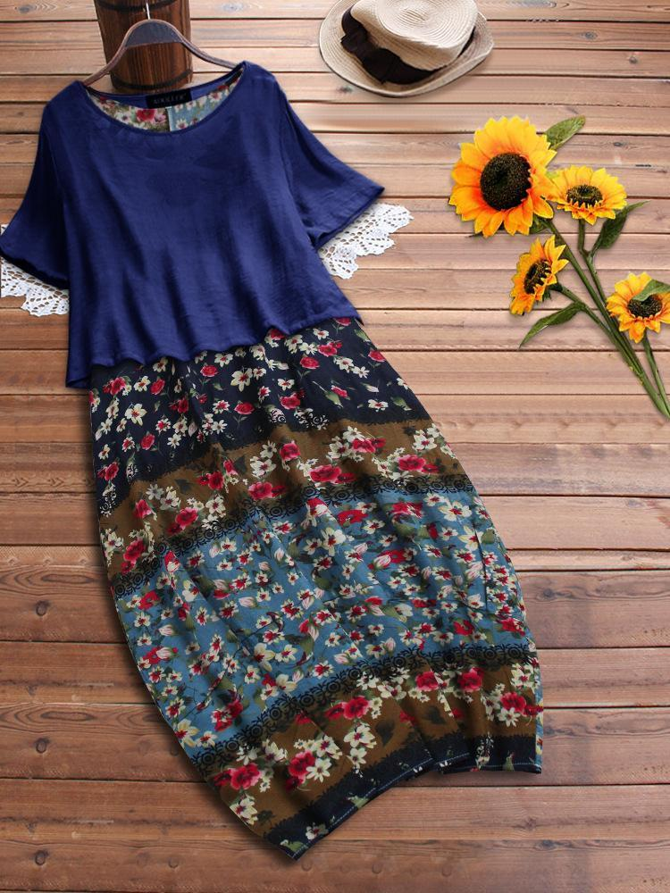 Women Cotton and Linen Short-sleeved Loose Two-piece Dress