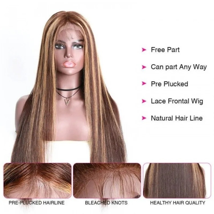 13x4 Straight Honey Blond Ombre Color Highlight 150% Lace Front Human Hair Wigs