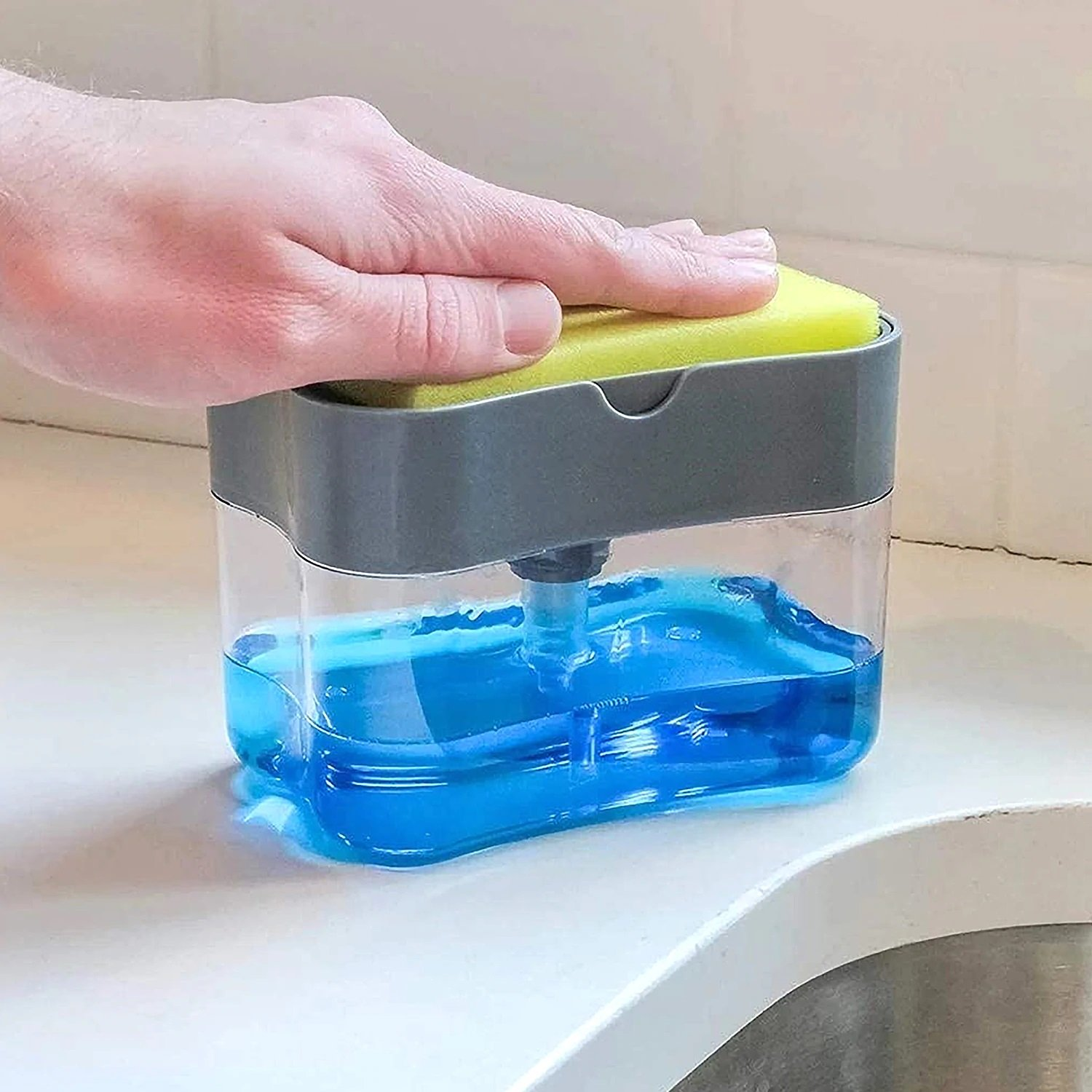 ✨NEW YEAR SALE 50%OFF-TODAY✨Soap Pump Dispenser and Sponge Caddy Holder 2 in 1 For Kitchen