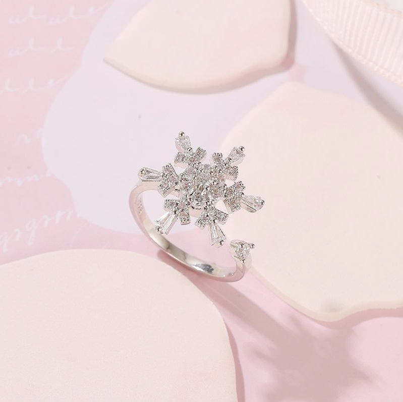 S925 Sterling Silver Snowflake Ring