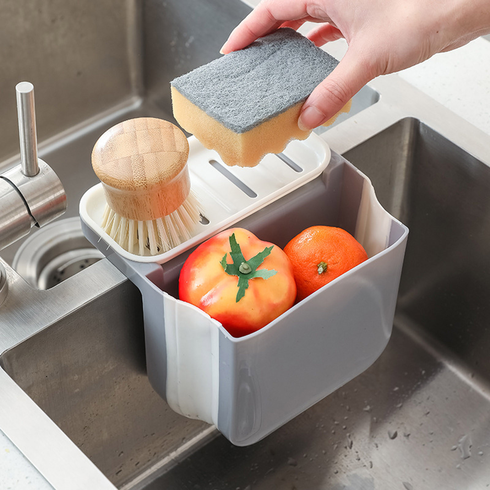🔥Foldable suction cup sink drain basket