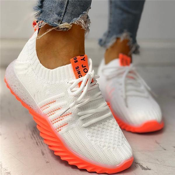 Angelovu Colorblock Knitted Breathable Lace-Up Sneakers