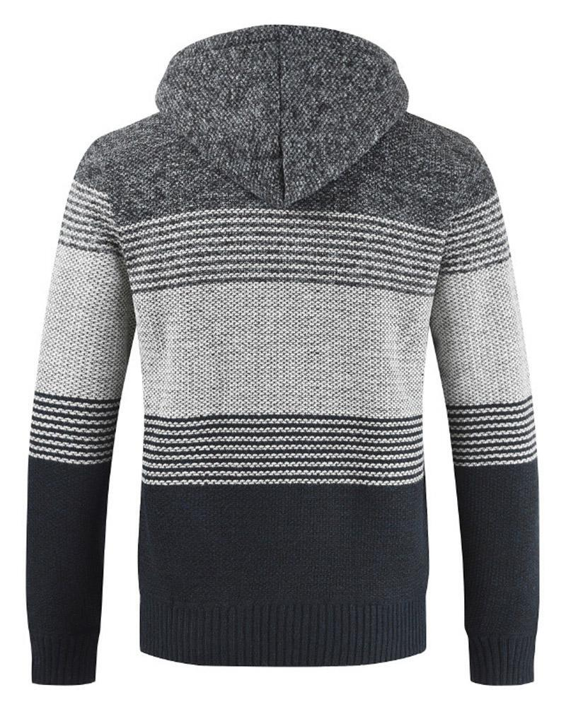 Hooded Sweater Color-Block Knit Sweater