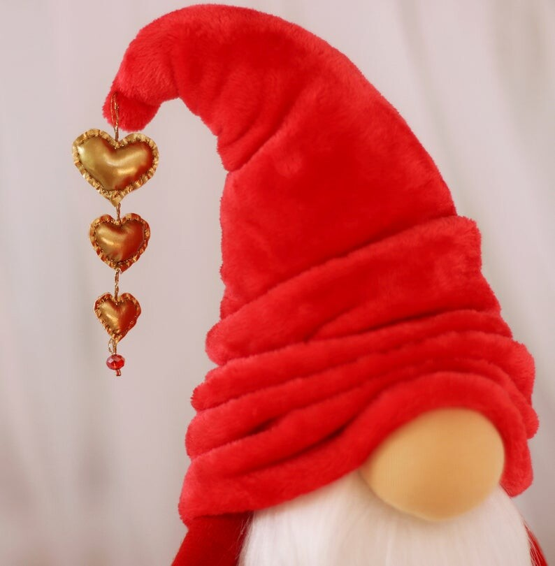Large gnome Tomte with a golden heart --- Gift of Love, Valentine's day decor