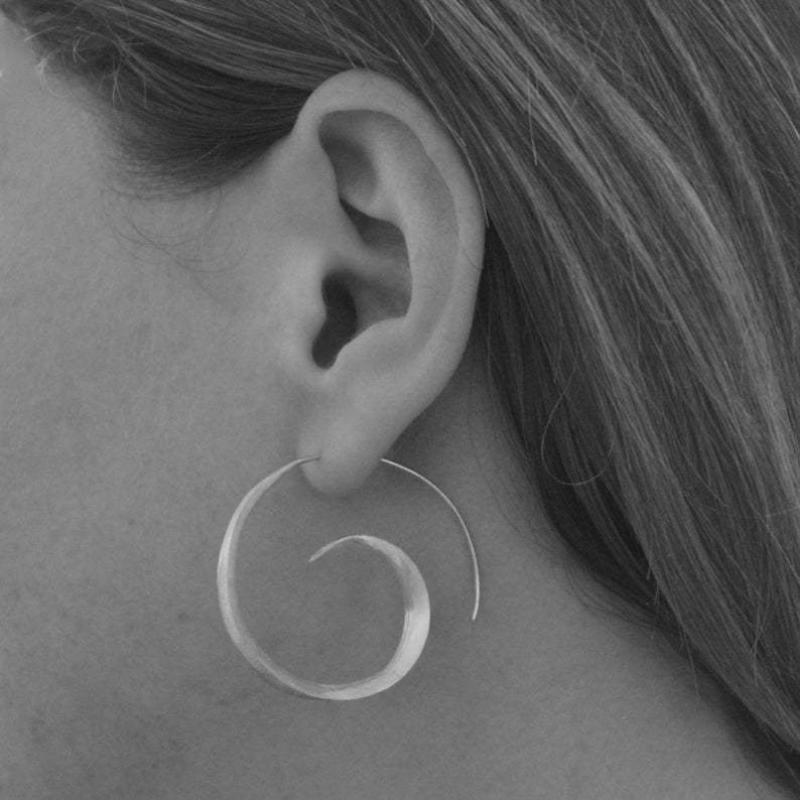 Personalized Round Spiral Leaf Earrings