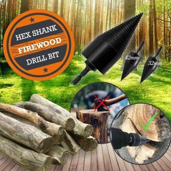Promo🔥Firewood drill bit with a round shaft