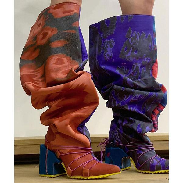Alvashare Color Mixing Chunky Heel Knee High Boots