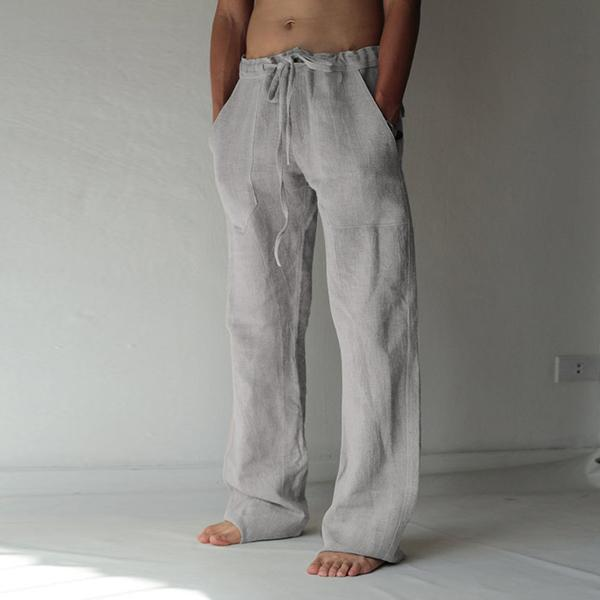 Loose Fit Leisure Trousers Drawstring Elastic Waist Solid Color Linen Straight Pants Long Pants Homewear