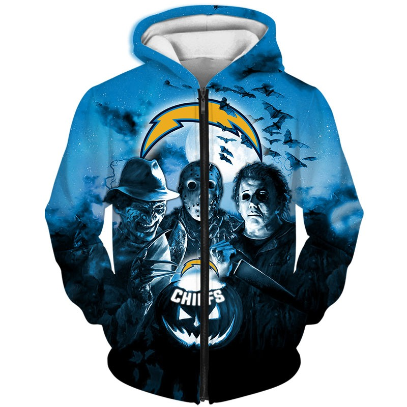 Los Angeles Chargers Hoodie 3D Halloween Horror night gift for fans