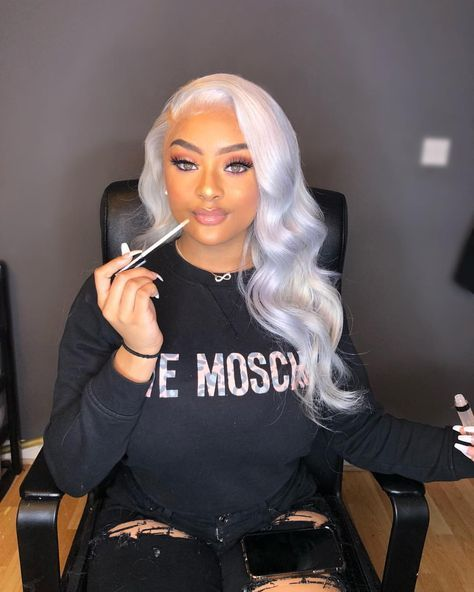 Lace Frontal Wigs For Women Gray Wigs Wavy Human Hair 30 Inch Human Hair