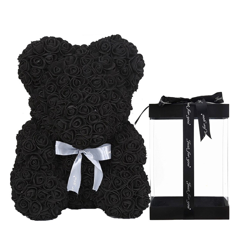Colorful Luxury Rose Teddy Bear with Gifts Box & LED Lights