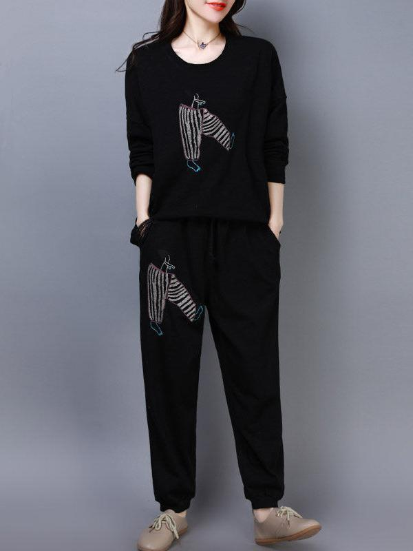 Round Neck Long Sleeves Pants Printed Two-piece Suit