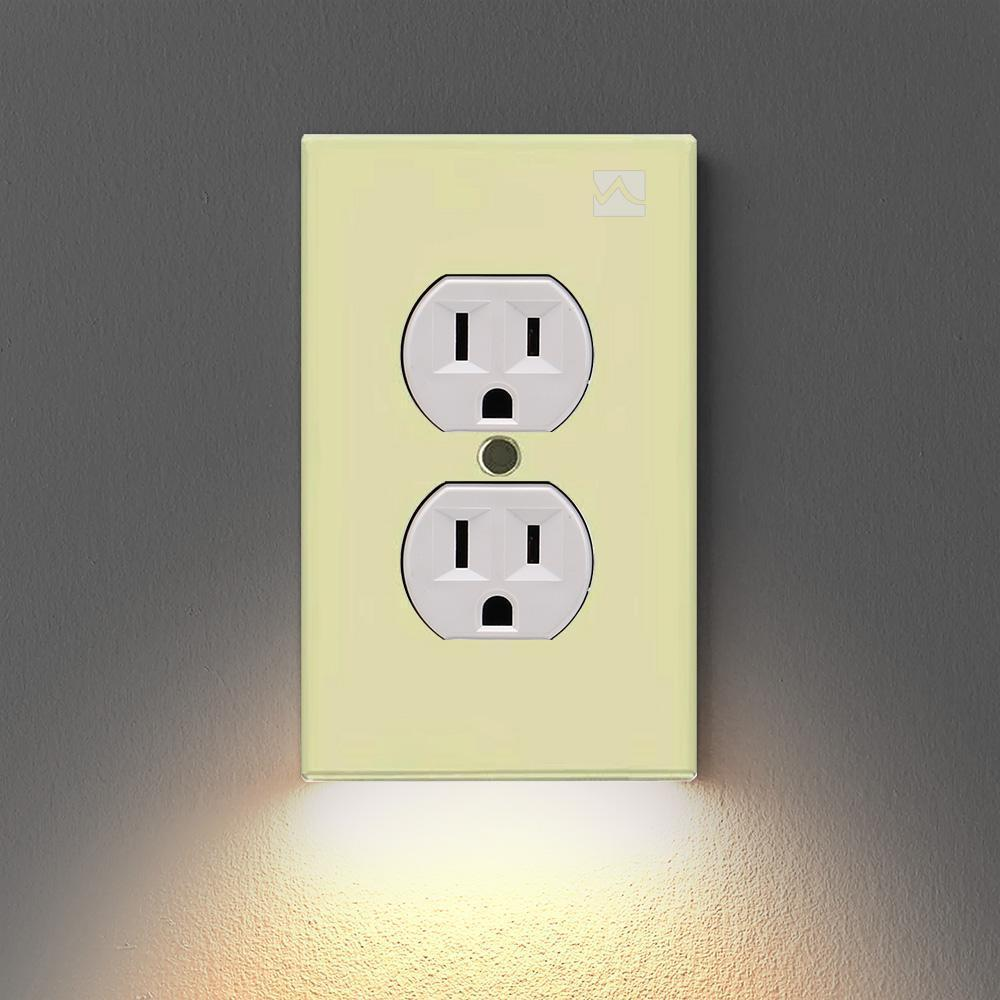 Outlet Wall Plate With Led Night Lights - No Wiring No Batteries Required