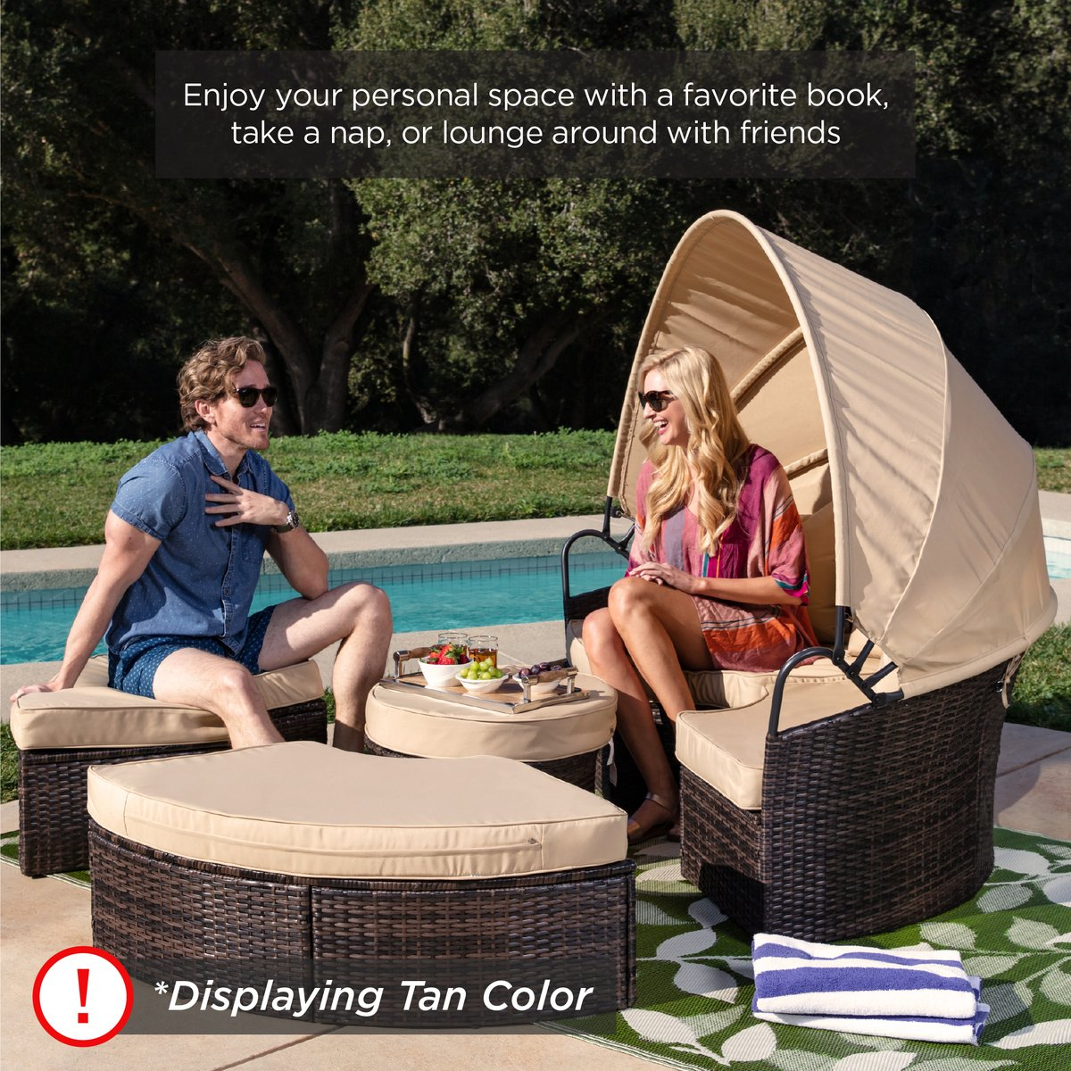 🎈🎈Promotional Clearance⏰ ❗❗Outdoor All-Weather Wicker Sectional Patio Daybed with Cushion&Single Double Quilt Pillow