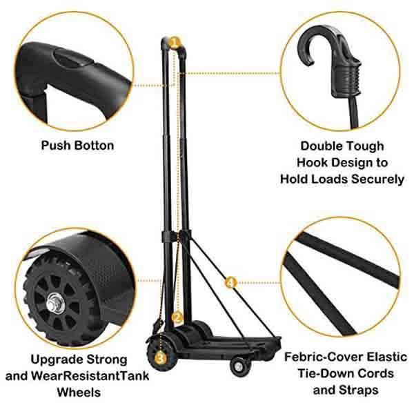 Lightweight Folding Hand Cart- Perfect for Carrying Large-size Boxes, Saving You Energy & Time On The Go.