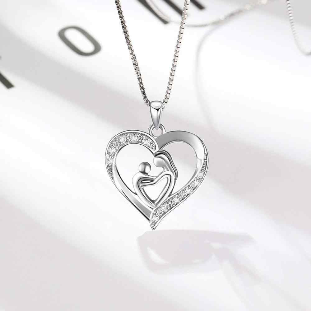 Sterling Silver Mother and Child Love Heart Necklace