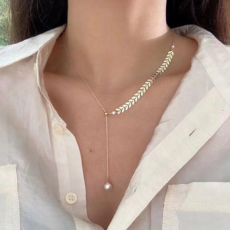 Ins Cold Wind Wheat Ear Chain Pearl Necklace