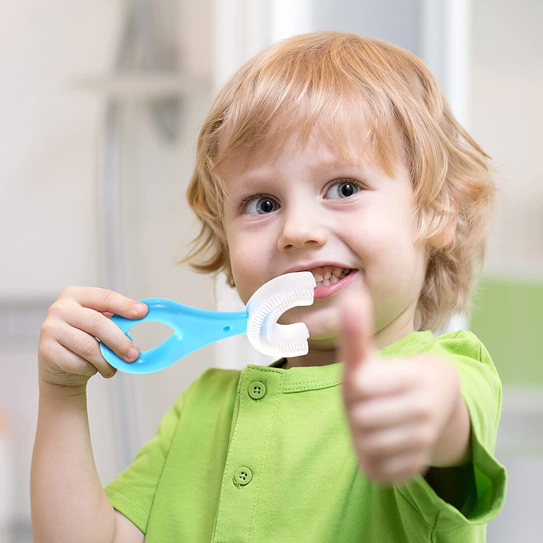 Kids U-Shaped Whole Mouth Teeth Brush(2Pcs) Silicone Bristles Massage Gums, All-Round Cleaning