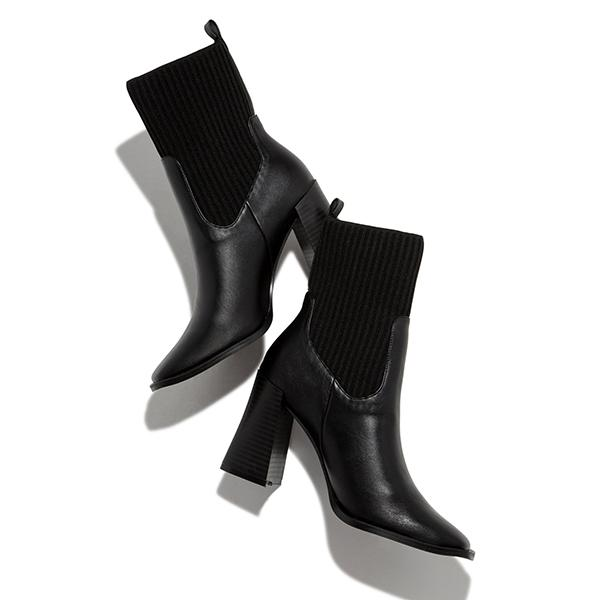 Angelovu Women Square Toe Solid Color Ankle Boots