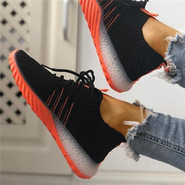 Alvashare Colorblock Knitted Breathable Lace-Up Sneakers