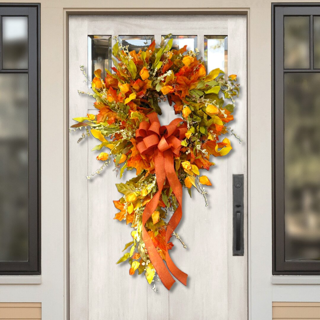 Fall bow outdoor wreath (Thanksgiving promotion)