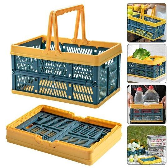 Foldable Multifunctional Storage Basket With Handles - Collapsible and Stack-able organizer