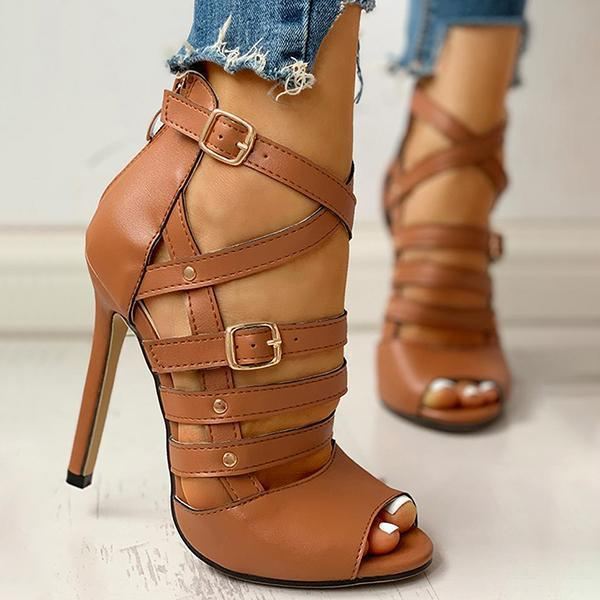 Lalarosa Solid Hollow Out Ankle Strap Thin Heeled Sandals