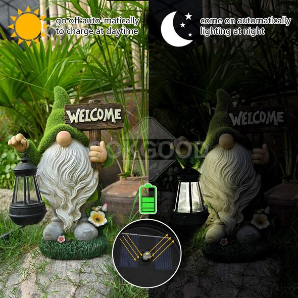 (Pre-sale)Lovely Garden Gnome Statue With Solar LED Lights For Outdoor Decoration